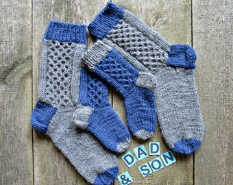 Father son matching socks for dad sonn Family knit socks Wool dad son socks Matching family socks set of 4 knit socks Dad and son gifts