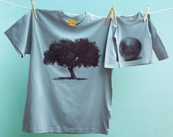 Apfelbaum-T-Shirt mit passendem Apfel-T-Shirt für Vater und Tochter / Sohn im Partnerlook