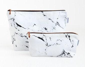 Sac en marbre / / blanc marbre sac pochette trousse rose marbre or cuivre fermeture à glissière noir fait par Alex deluxe