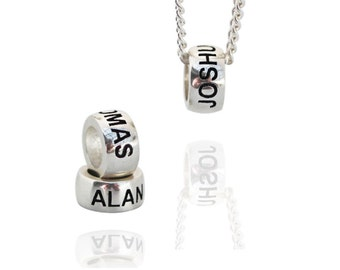 Personalized beads made in sterling silver with Block font. Perfect addition to your pandora bead charm bracelet or simply wear on a chain.
