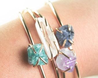 Kai cuff bracelet - gemstone cuff, gold bracelet, gold cuff bracelet, sapphire, clear quartz, aqua apatite, rough amethyst gemstone, hawaii