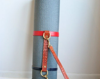 Leather Yoga Mat Strap/Blanket Carrier (repurposed leather, includes stamping of initials!)