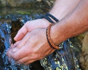 Braided Leather Bracelet for Men, TAN Leather and Silver Bracelet, Custom Men's Leather Bracelet, Elegant Bracelets for Men, Mens Bracelet