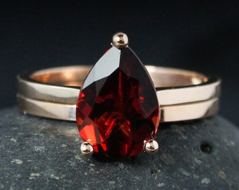 Teardrop Garnet Engagement Ring and Band Set – 10Kt White Gold, Rose Gold, or Yellow Gold