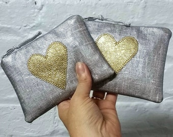 Heart of gold appliqued coin purse - choose from gold, pink or turquoise hearts - silver linen oilcloth and leather