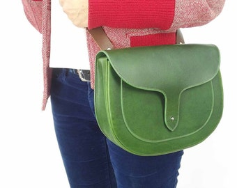 Green Leather Sally Satchel, English Leather, Green Leather Satchel bag for women