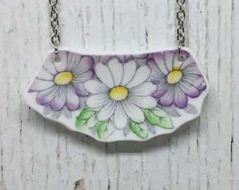 Broken China White and Purple Daisy Statement Necklace