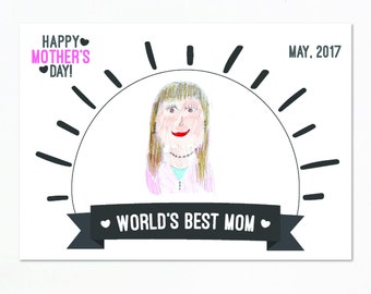 Printable world's best mom, last minute gift for mom, Printable card for mother's day, World's best mom card, Drawing card for mom