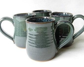 Poterie tasses 12 oz lot de 4, ensemble de 4 tasses à café, Set de tasses de poterie à la main, lot de tasses 12 oz