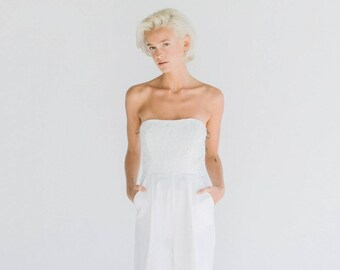 Juniper // A modern strapless jumpsuit with pleated pants and inseam pockets