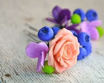 polymer clay flowers, weddings hairpins, flower pins, flowers for hair, hair pins wedding, hair pins for wedding