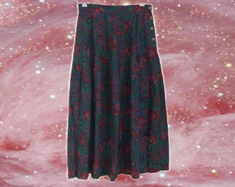 70s/80s/90s Floral Buttoned Maxi Skirt