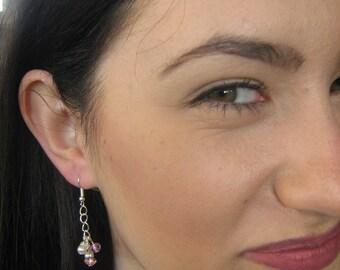 Handmade earrings silver wire pearls long earrings M004