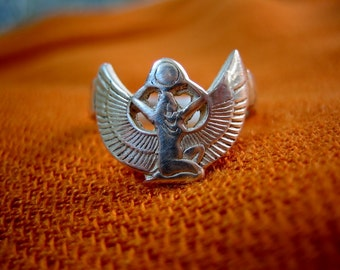 Beautiful Egyptian Sterling Silver Ring,Egyptian Goddess, Queen Isis Wings, Egyptian ring (last one)