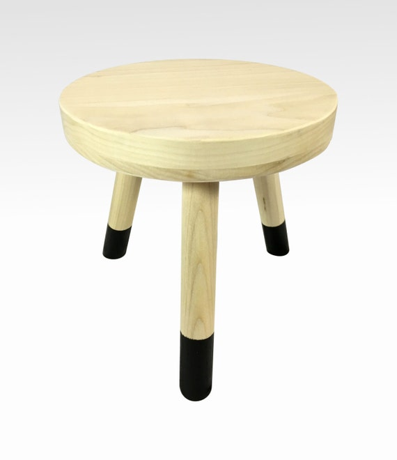 Small Wood Three Legged Stool Modern Plant Stand In Pale