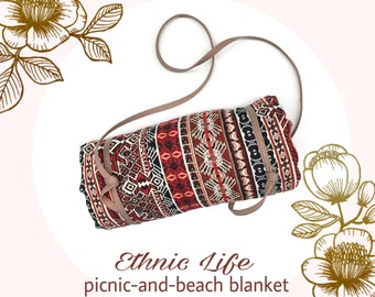 Ethnic Life Picnic and Beach Blanket with Denim Strap
