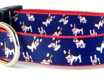 French Bulldog Dog Collar, Leash or Step In Harness with Personalized Options