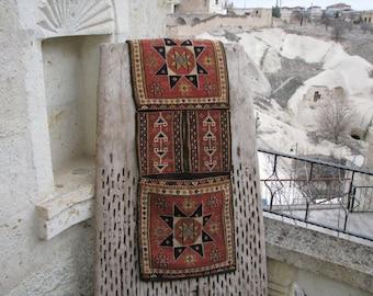 HAND EMBROIDERED SOUMAK Kilim Saddlebag Heybe-Saddle Bag-Tribal Wall Hanging-Tribal Bag-Hand Embroidered Bag-Decorative Wall Hanging Soumak