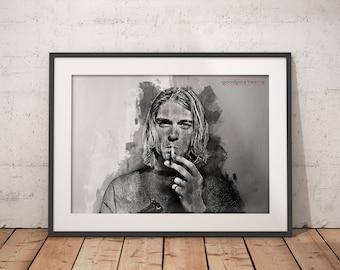Kurt Cobain print, Kurt Cobain poster, wall art, home decor