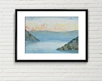Original watercolour, landscape, watercolor painting, aurora painting, aurora borealis, dawn painting, wall art, wall décor, home decor