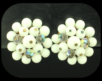 Vintage Signed LAGUNA AB Aurora Borealis & White Cluster Clip On EARRINGS