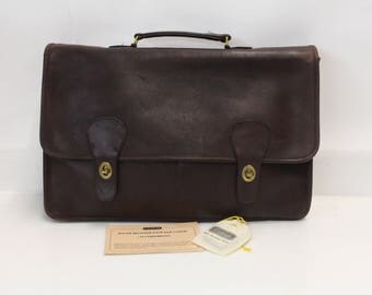 Vintage Classic Coach Metropolitan Brown Leather Briefcase with Brass Hardware & Top Handle - Authenticity Paperwork Included