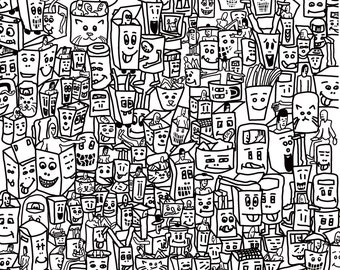 Bins pulling silly faces A4 Print