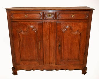 Antique French Country Normandy Server or Cabinet, Attractive Clean Lines, Turn of the Century #7866