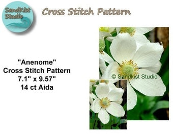 Anenome, Original Cross Stitch Pattern, Instant Download