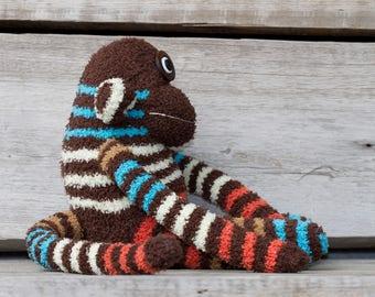 Handmade plush monkey, sock monkey with button eyes (brown, striped)