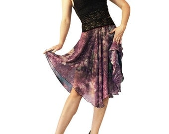 Purple Gold Wash Chiffon Circle Tango Skirt