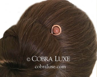 Goldstone Hair Fork Copper Wire Wrapped Bun Holder Goldstone U Shaped Hair Pin Long FINE HAIR Accessory Gift for Women