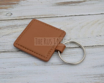 Square Leather Keychain - Brown - Slim Leather Keychain