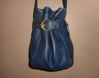 """VINTAGE COACH 9"""" X 9"""" Navy Blue Leather Belted Pouch #F7Z-4156"""