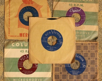 Vintage 12-Piece Collection of 45 RPM Records