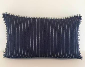 "Decorative Embroidered Lumbar Pillow - Textured Designer Denim - Accent Pillow 12"" x 20"""