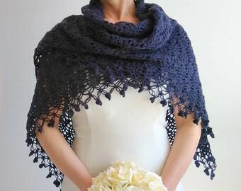 Crochet navy blue shawl  bridal shawl  wedding wrap  dark blue shawl  bridal cover up  navy wrap  winter wedding  fast shipping