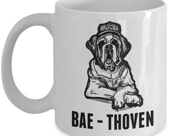 bae mug / saint bernard mug - Funny Bae Thoven Saint Bernard cup!