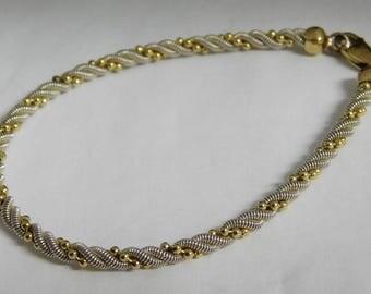 Vintage Handmade Sterling Silver Gold accent Bracelet