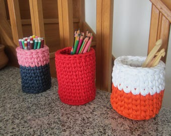 Pot crayons crochet pot brushes makeup, kids office storage, office storage, colorful pots crochet, gift new home