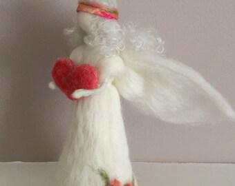 Waldorf Inspired Angel  Needle Felted Angel   Wool Felted Angel  Waldorf Doll  Art Doll  Needle Felted Gift