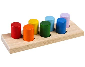 Mini Rainbow Kegs - Learning Toy - Montessori toddler toy - Toddler birthday gift - Wooden toy - Educational toy