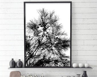 Black and White Botanical Art,  Downloadable Print, Botanical Print, Trees, Black and White Art, Scandinavian, Scandi, Monochrome, Wall Art