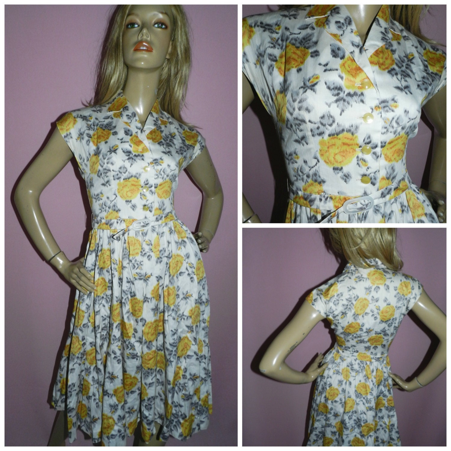 50 Incredible Non Traditional Wedding Dresses Under 500: Vintage 50s Yellow Grey ROSE Print Floral Full Skirt TEA Dress