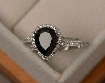Black spinel ring, natural black ring set, sterling silver, pear cut gemstone ring, engagement ring