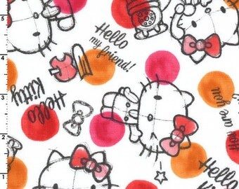 Kokka Sanrio Hello Kitty Rough Sketch Double Gauze | 8034-001-A Red/Orange | By the yard