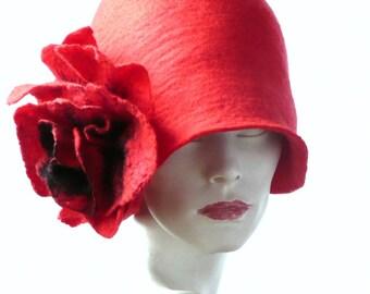 Red Felt Hat felted hat Cloche Hat Flapper 1920 Hat Art Red Hat Cloche Victorian 1920's  Wool Women's hats Poppy flower hat womens hat