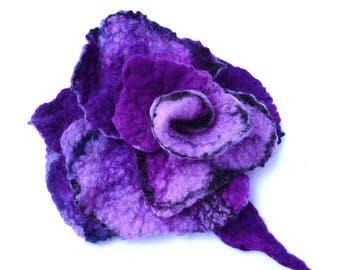 Felted flower brooch felt brooch felted brooch purple flower brooches felt brooches roses brooch felt brooches felted rose felt roses