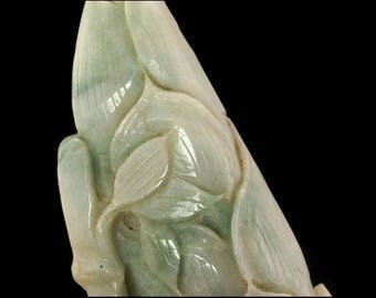 Heavy Antique Chinese Carved Green Jade Water Lily Leaves Statue