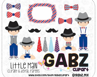 "Little Man, Digital Papers, Clip art, Party Boys, Birthday, Frames, Boys Birthday, Digital Paper 12""x12"", Digital Paper 8""x11.5"", Gabz"